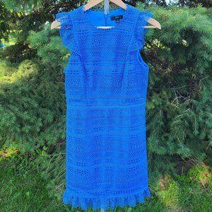 J Crew Blue Cap Sleeve Ruffle Lace Dress Size 4